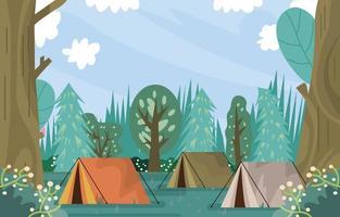 carpas en el bosque en el horario de verano. vector
