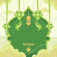 Flat Eid Ketupat Background vector
