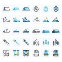 paquete de iconos de camping al aire libre vector