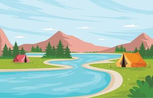 Camp Site By The River Background vector