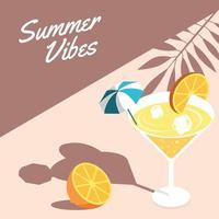 Summer Cocktail Isometric Background vector