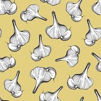 Garlic seamless pattern. Vector illustration drawn by hand