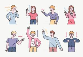 People are pointing their fingers up and down, left and right, and themselves in various directions. flat design style minimal vector illustration.