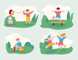 The children are playing with their friends in the park. Children who play with friends and children who play well alone. flat design style minimal vector illustration.