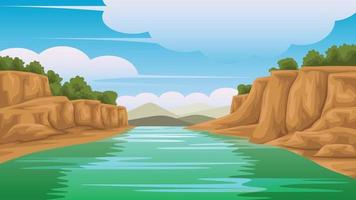 Illustration of a view of The river on the side is rocky And there are mountains vector