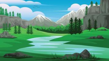 Illustration of a view of stream mountains sky and Pine forest vector