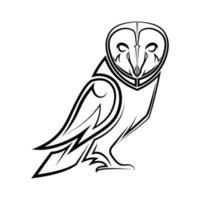 Black and white line art of owl vector
