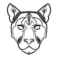 Black and white line art of cougar head vector