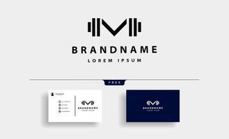 Letter M bodybuild fitness logo design vector
