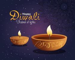 Happy diwali diya candles with mandala and stars on purple background vector design