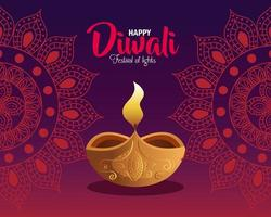 Happy diwali diya candle with mandalas on red background vector design