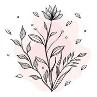 flower and leaves plants nature drawn icon vector