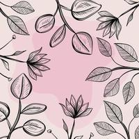 flowers and leaves nature ecology pattern vector