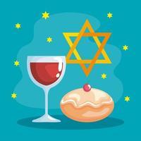 Happy hanukkah cup, star and sufganiot vector design
