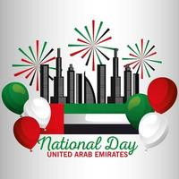 Uae national day with flag, fireworks, balloons and city vector design