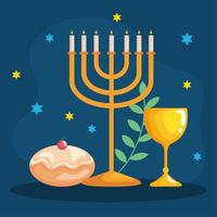 Happy hanukkah menorah, goblet and sufganiot vector design