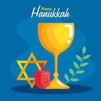 Happy hanukkah menorah, dreidal, star and goblet vector design