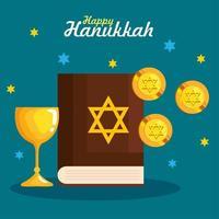 Happy hanukkah torah, gelt and cup vector design