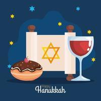 Happy hanukkah cup, torah and sufganiot vector design