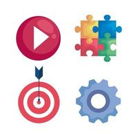 play, puzzle, target and gear vector design