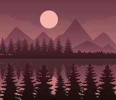landscape of mountains, lake, pine trees and moon on brown background vector design