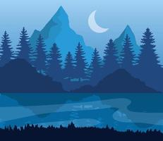 landscape of mountains, lake, pine trees and moon on blue background vector design