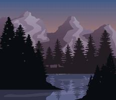 Landscape of mountains, pine trees and lake vector design