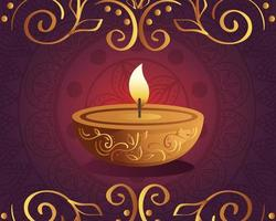 Happy diwali diya candle with mandala and ornament on red background vector design