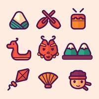 Dragon Boat Festival Icon Set vector