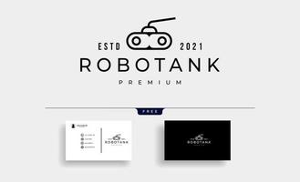 Ilustración de vector de diseño de logotipo de contorno de robot de tanque