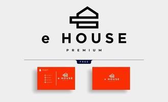 letter e house logo design vector illustration