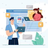 Man And Woman Have Conversation Online Through Video Call Conference Concept vector