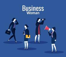 Businesswomen with megaphone, suitcase, file and binoculars on blue background vector design