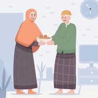 compartiendo comida ketupat con la persona mayor en eid vector