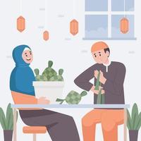 concepto de eid ketupat con pareja haciendo ketupat vector