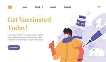 Covid 19 Vaccine Landing Page vector