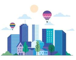 City landscape with buildings, houses, hot air balloons, trees, sun and clouds vector design