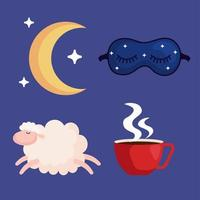 Insomnia. Moon, mask, sheep and caffeine cup vector design