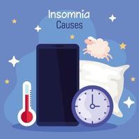 Causas de insomnio, diseño de vector de teléfono inteligente, termómetro y reloj