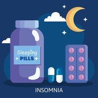 insomnio. pastillas, tarro y diseño vectorial de luna vector