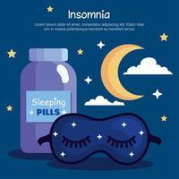 máscara de insomnio, píldoras, tarro y diseño de vector de luna
