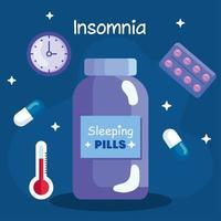 pastillas de insomnio, tarro, reloj y termómetro diseño vectorial vector