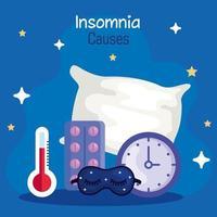 Causas de insomnio, termómetro, máscara, reloj, pastillas y diseño de vector de almohada