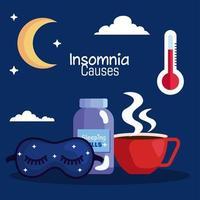 el insomnio causa máscara, píldoras, tarro y diseño de vector de luna