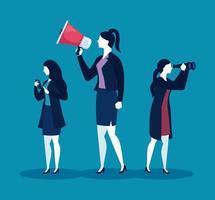 Businesswomen with megaphone, binoculars and smartphone on blue background vector design