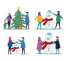 merry christmas family with pine, tree, gifts and snowman icon set vector design
