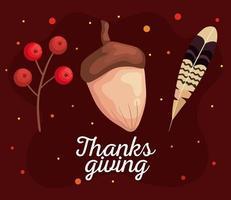 día de acción de gracias otoño bayas, bellota y diseño vectorial de plumas vector
