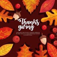 día de acción de gracias hojas de otoño, bayas y bellotas diseño vectorial vector