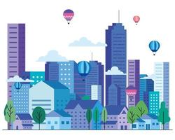 City landscape with buildings, houses, hot air balloons, trees and clouds vector design