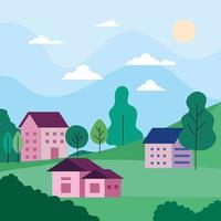 City landscape with houses, trees, clouds and sun vector design